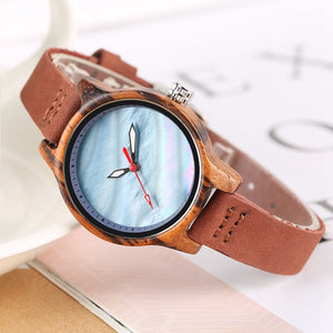 Ladies Wooden Watch - Dial Faces Available in Coral Blue Or Chic Red Dial Faces