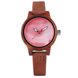 Ladies Wooden Watch - Red Dial Faces