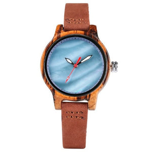 Ladies Wooden Watch -  Coral Blue Dial Face