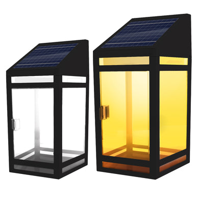 Solar Clear Panel Wall Lantern Model STL-205 (2-Pack)