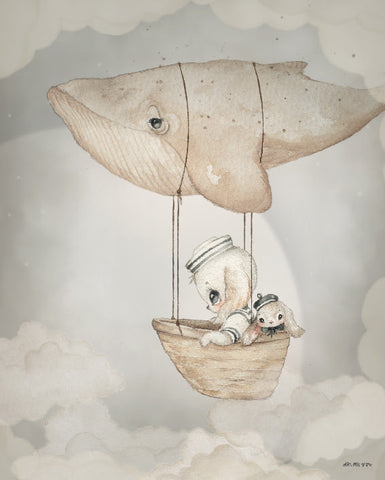 Flying Whale Plakat 40x50 cm - Mrs. Mighetto