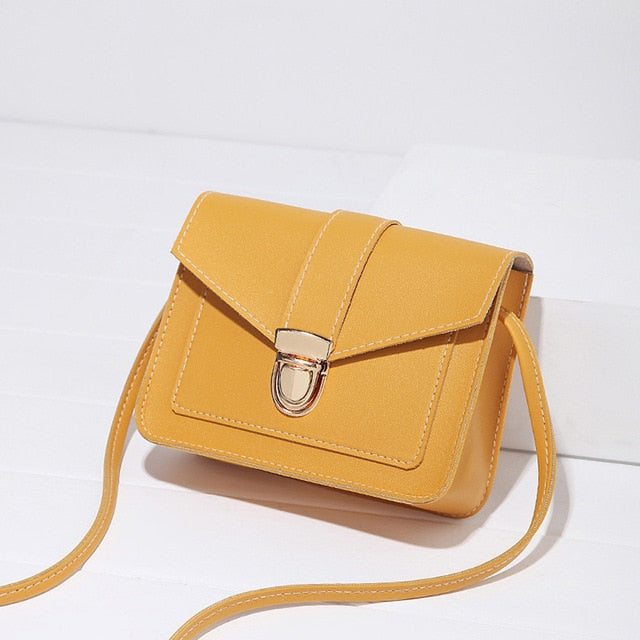 Bags for Women Mini Leather Shoulder Messenger Bag for Girl Yellow Bolsas Ladies