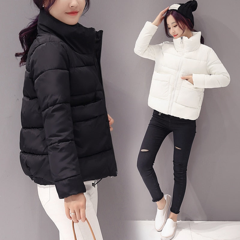 Jacket Women Winter Fashion Warm Thick Solid Short Style Cotton padded Parkas Coat Stand Collar