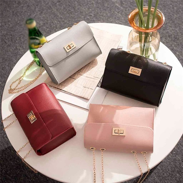 Simple Small Square Bag Women's Designer Handbag  Leather Chain  Shoulder bags