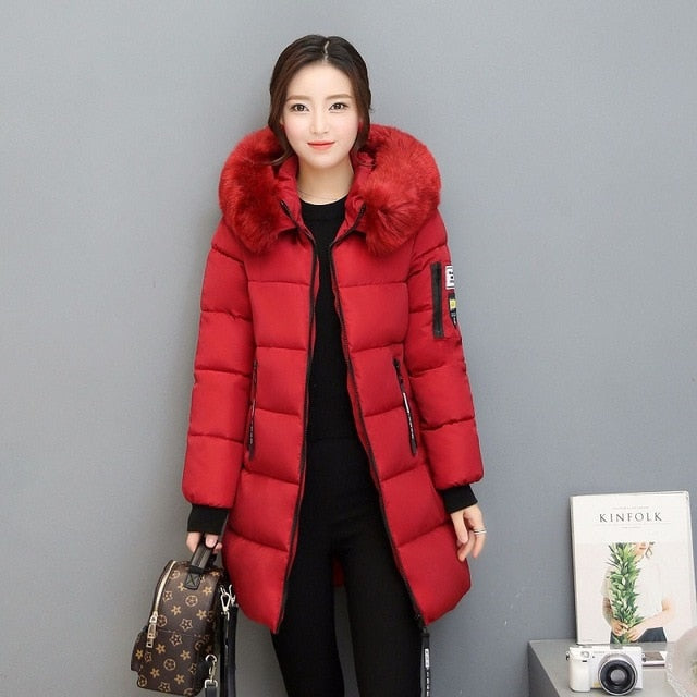 Parka Women Winter Coats Long Cotton Casual Fur Hooded Jackets Women Thick Warm Winter Parkas