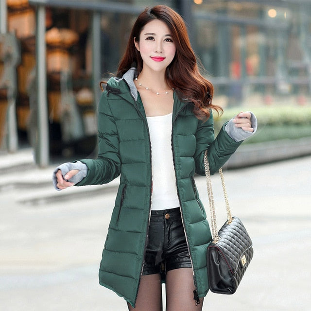 women winter hooded warm coat plus size candy color cotton padded jacket female long parka womens