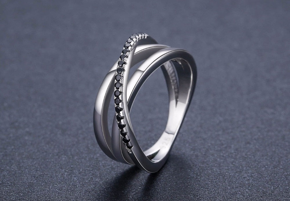 Sterling Silver Fine Jewelry Baguet Row Engagement Black Spinel Wedding Rings for Women