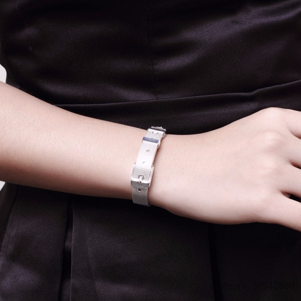 Belt Design Pure Sterling Silver Fine Jewelry Bracelet Top Quality Watch Chain For Woman
