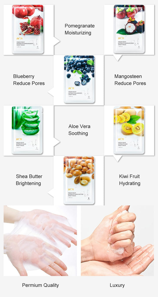 Skin Care Six Fruit Facial Mask Shea Butter Mangosteen Blueberry Pomegranate