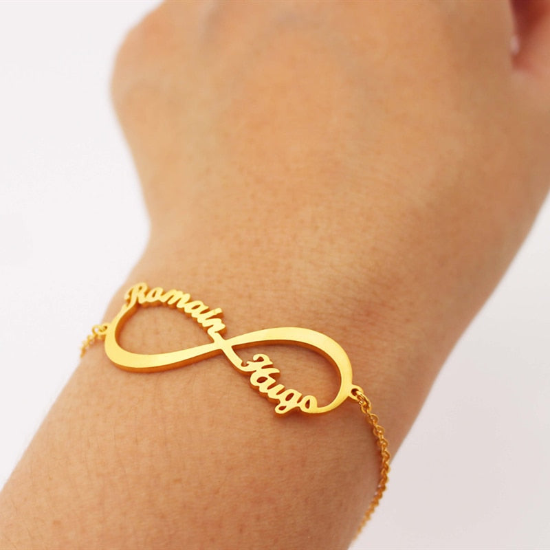 Bracelet Femme Silver Color Custom Jewelry Personalized Heart Infinity Nameplate Charm Bracelet