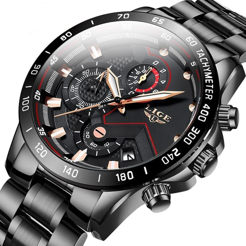 Fashion Watches Mens Stainless Steel Top Brand Luxury Sport Chronograph Quartz Watch Men Black