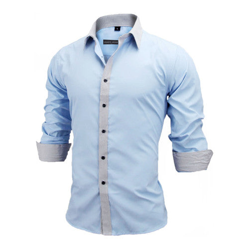 Men Shirts Europe Size Slim Fit Male Shirt Solid Long Sleeve British Style Cotton Men's Shirt