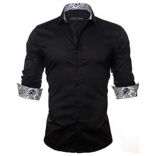 Men's Shirt Fashion Casual Style Long Sleeve Solid 100% Cotton Slim Fit Dress Male Shirts