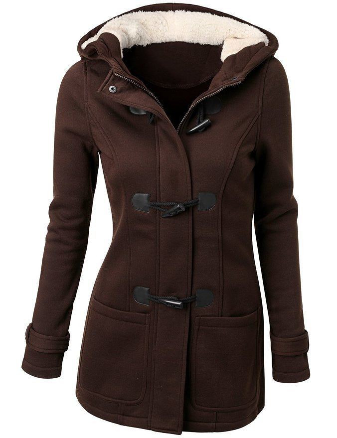 Women Causal Coat New Spring Autumn Women's Overcoat Female Hooded Coat Zipper Horn Button Outwear