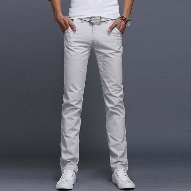 Fashion Men Business Casual Pants Cotton Slim Straight Trousers Spring Summer Long