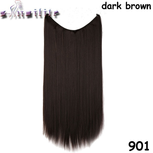 S-noilite 20 inches Invisible Wire No Clips in Hair Extensions  real natural Synthetic