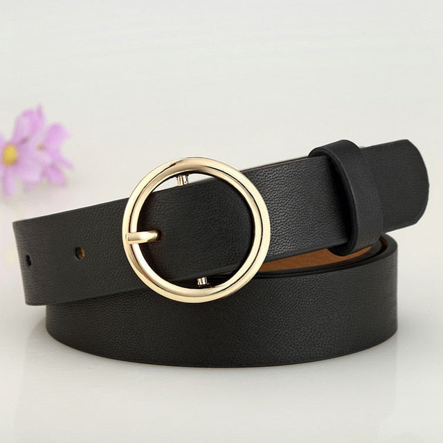 Badinka New Gold Round Metal Circle Belt Female Gold Silver Black White PU Leather Waist Belts