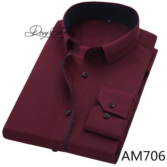Men Shirt Long Sleeve Twill Solid Formal Business Shirt Brand Man Dress Shirts