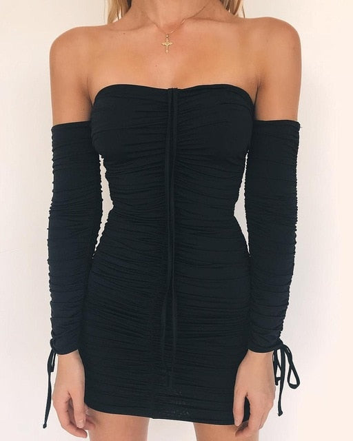 Articat  Women Autumn Winter Bandage Dress Women   Shoulder Long Sleeve Slim  Elastic Bodycon