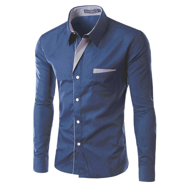 New Fashion Brand Long Sleeve Shirt Mens Design Formal Casual Male Dress Shirt Size M-4XL