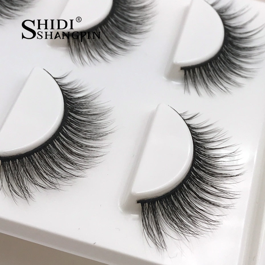 New 3 pairs natural false eyelashes fake lashes long makeup 3d