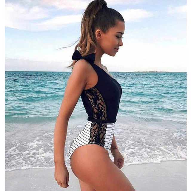 One Piece Swimsuit Women Summer Beachwear Lace One Shoulder Swimwear
