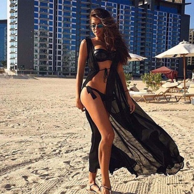 Beach Cover Up Floral Embroidery Bikini Cover Up Swimwear Women Robe De Plage Beach Cardigan