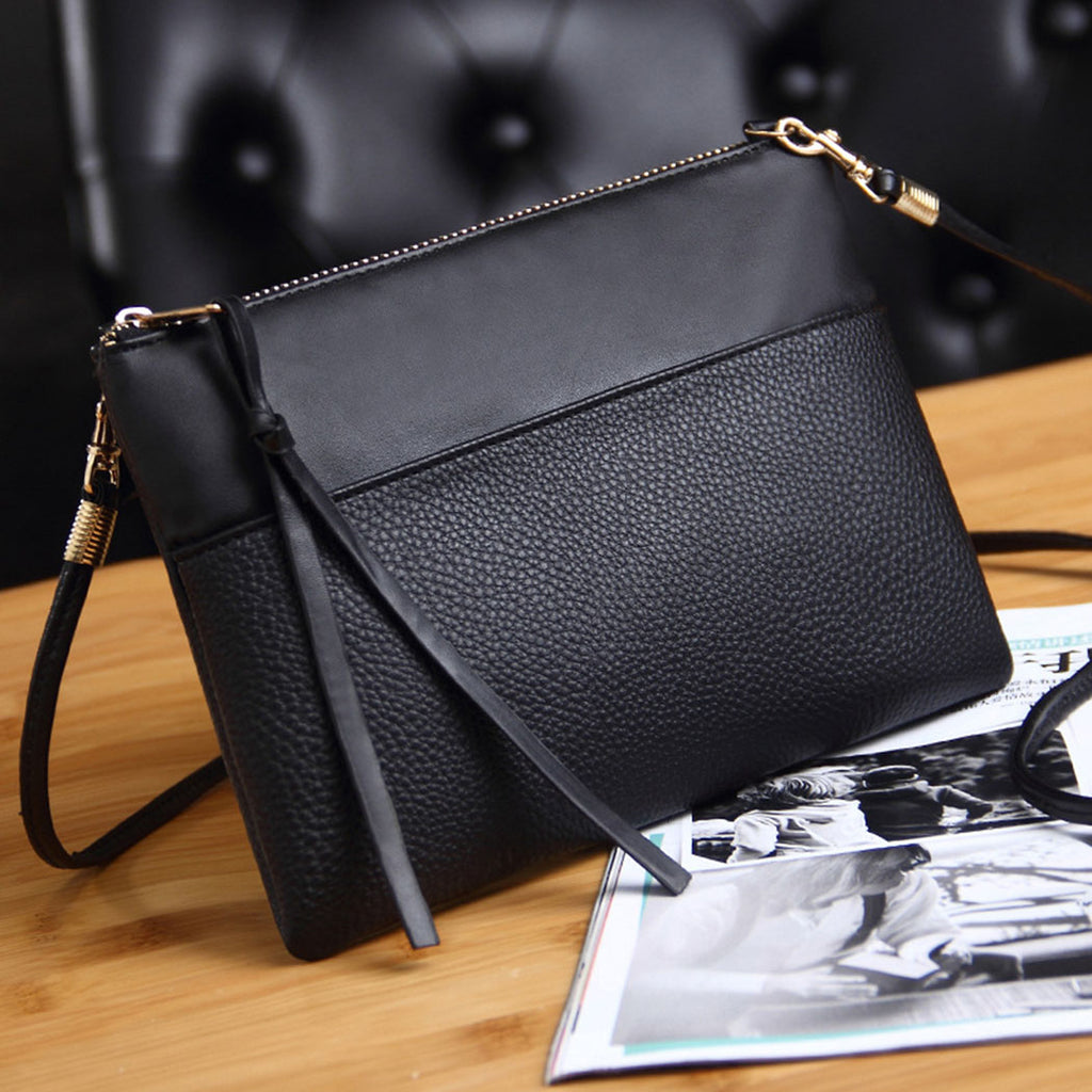 Simple Black Leather Crossbody Bags Enveloped Shaped Small Messenger Shoulder Bags Big Sale Female