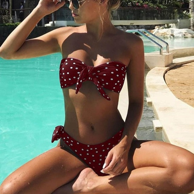 Women Sexy Dot Printed Bikini Set Push-Up Padded Bow Swimwears Swimsuit Beachwear