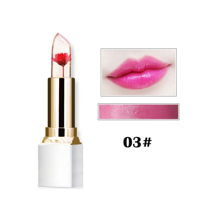 Transparent Natural Red Lip Stick Temperature Color Change Long-lasting Moisturizer Flower Jelly
