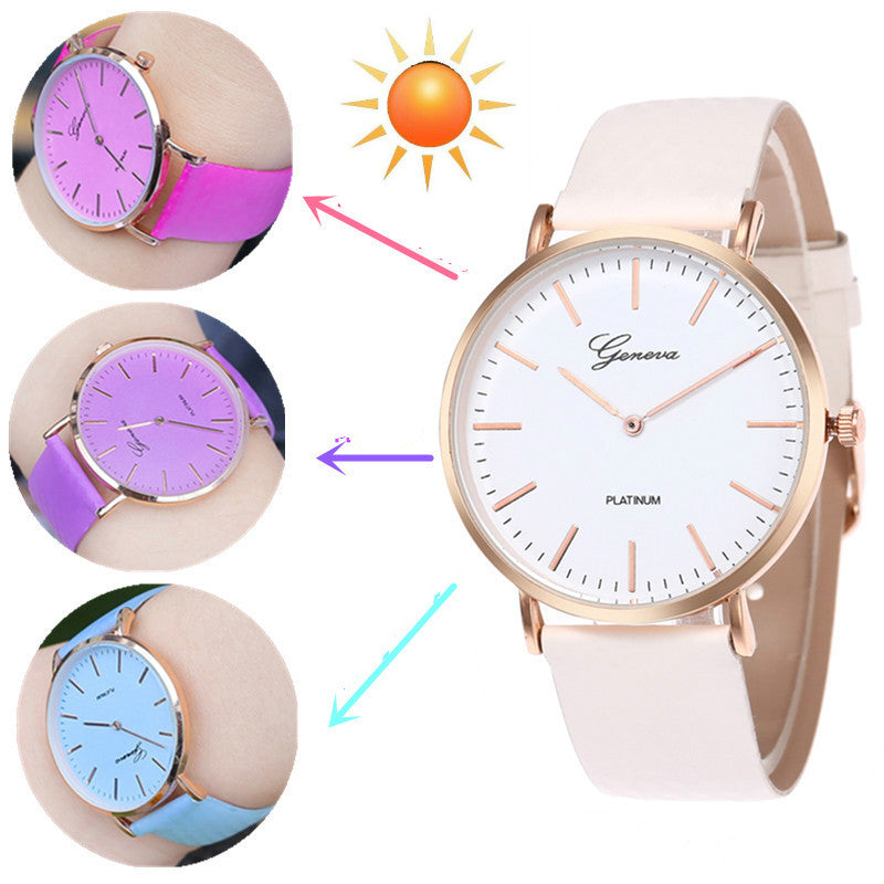 Women Watch Sun Color Change Men Women Quartz Wristwatches