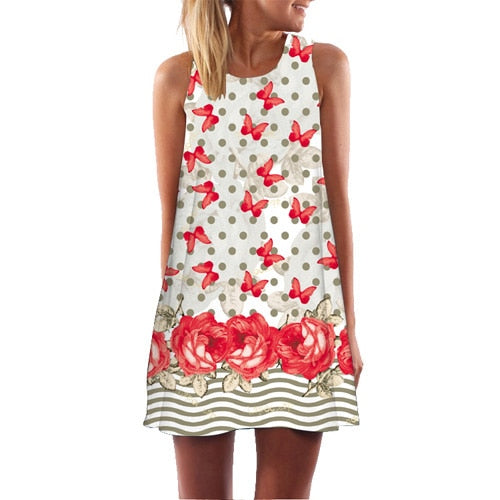 BHflutter Women Dress 2018 New Arrival Rose Print Sleeveless Summer Dress O neck Casual Loose