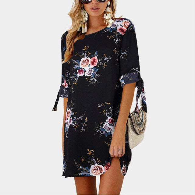 2019 Women Summer Dress Boho Style Floral Print Chiffon Beach Dress Tunic
