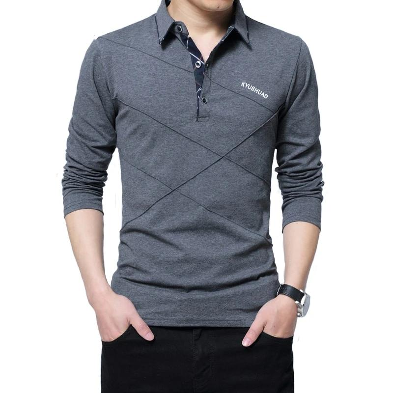 ARCSINX 5XL Polo Shirt Men Plus Size 3XL 4XL Autumn Winter Brand Men's Polo Shirt Long Sleeve
