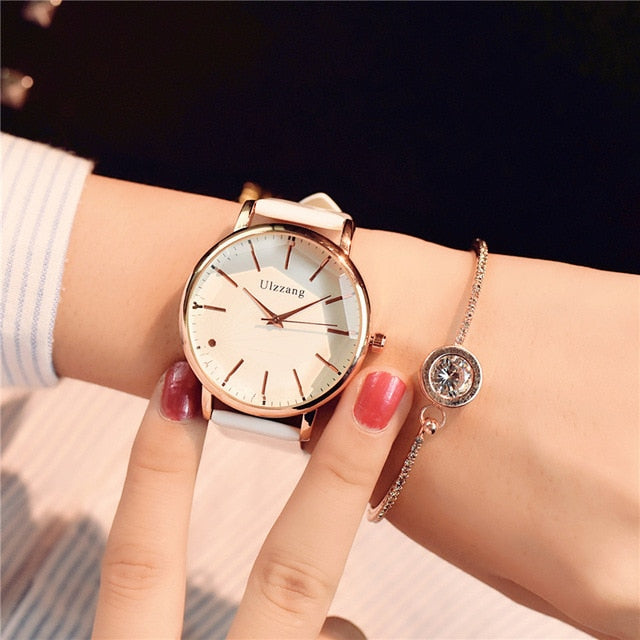 Women watches luxury fashion dress quartz watch white ladies leather wristwatch