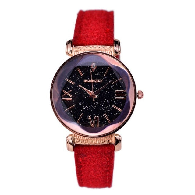 Leather Watches Women ladies casual dress quartz wristwatch