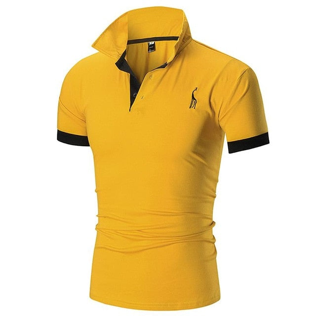 FSTMETORS Mens Polo Shirt  Slim Solid Color Deer Embroidery Polo shirt
