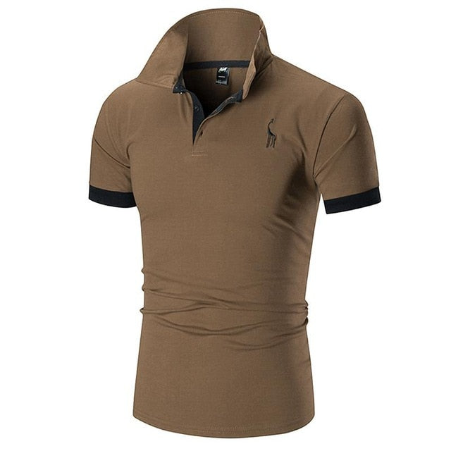 2019 FSTMETORS Mens Polo Shirt  Slim Solid Color Deer Embroidery Polo shirt
