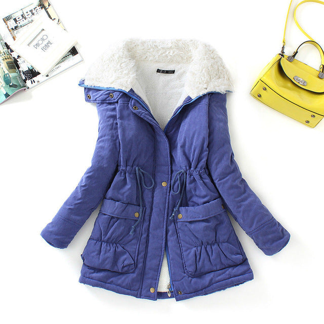 Fitaylor Winter Cotton Coat Women Slim Snow Outwear Medium-long Wadded Jacket Thick Cotton