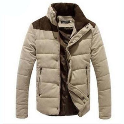 Winter Jacket Men Warm Casual Parkas Cotton Stand Collar Winter Coats Padded Overcoat Outerwear