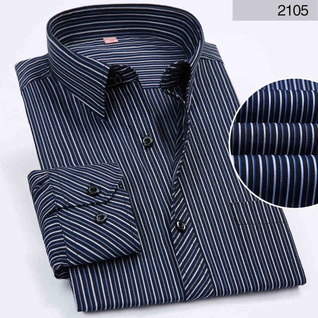 Men Shirt Long Sleeved Striped Solid Plaid Male Business Shirt Brand Clothing Formal Shirt Man