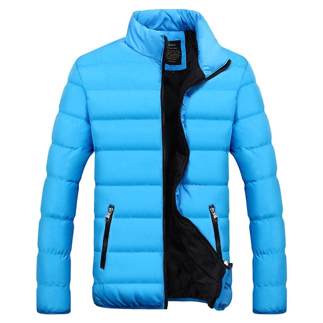 New Men's windbreakers Solid winter jacket men Casual Parkas Men Thermal Coats Slim Fit Thick Warm