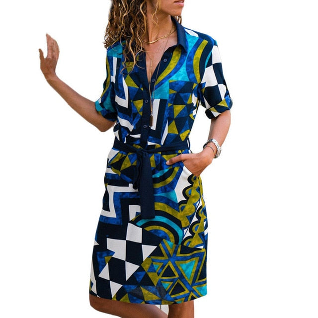 Long Sleeve Shirt Dress Summer Chiffon Boho Beach Dresses Women Casual Striped Print A-line.