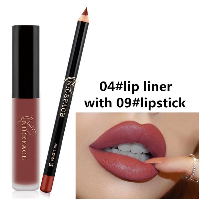12 Color Matte Lipstick Lip Liner Pen Set Waterproof Long Lasting Make Up Red Lip Gloss Pencil Kits