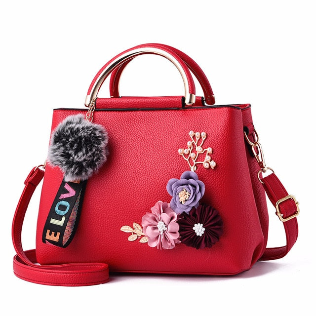 Women Shoulder Bag Tote Flowers Shell Sac Main Femme Rivets Fur Ball Pendant Luxury Designer Ladies