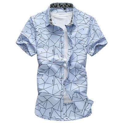 New Men Shirt Fashion Plaid Printing Male Casual Short Sleeve Shirt