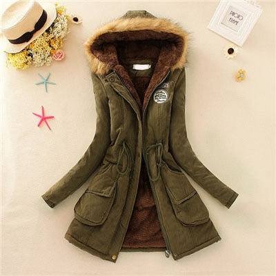 Women Fashion Parkas Winter Jackets Coats Faux Fur Hooded Collar Casual Long Parkas Cotton Wadded
