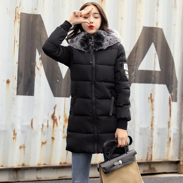 New Fashion Women Winter Jacket With Fur collar Warm Hooded Female Womens Winter Coat Long Parka