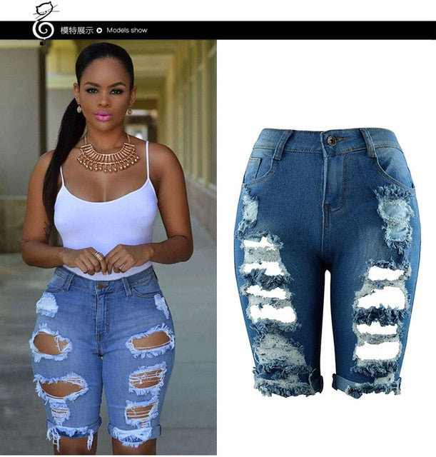 Casual Denim  Ripped Pants High Waist Stretch Jeans Plus Size Female Short Jean For Woman