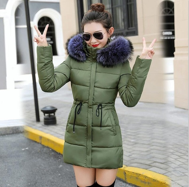 Winter Jacket Women New Coats Artificial raccoon hair collar Female Parka black Thick Cotton